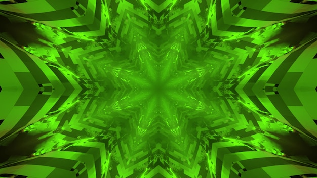 3d illustration of hypnotic neon green symmetric pattern with glowing lines as abstract background