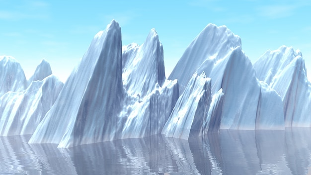 3d illustration of iceberg in the ocean