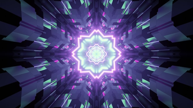3d illustration of illuminated abstract ornament decorated with neon lights reflecting in tiled walls of dark tunnel