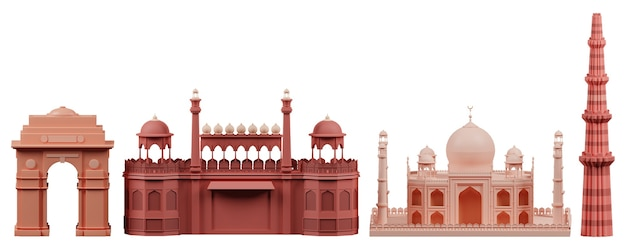 3d illustration of india famous monuments on white background.