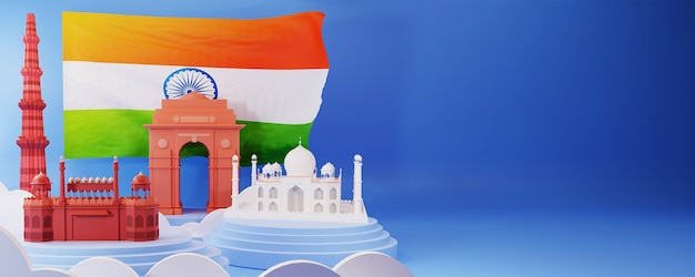 3d illustration of india famous monuments with national flag and copy space on blue background.