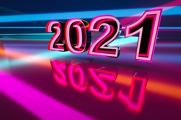 3d illustration inscription 2021 from pink and blue neon lines
