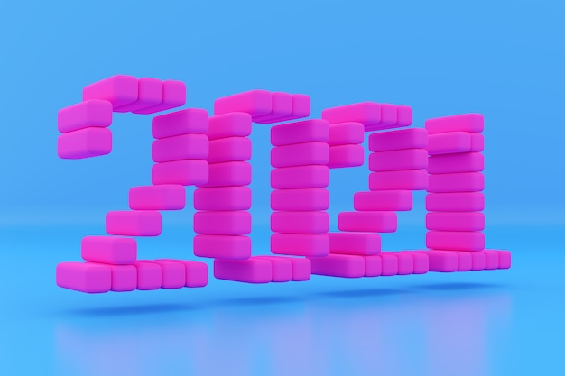 3d illustration inscription 2021 from small pink cubes on a blue isolated background. illustration of the symbol of the new year.