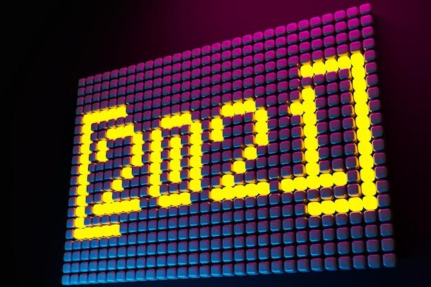 3d иллюстрации надпись 2021 из маленьких желтых кубиков на неоновом фоне. иллюстрация символа нового года.