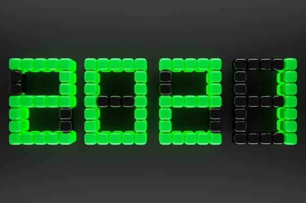 3d иллюстрации надпись 2021 из небольшого желто-зеленого на фоне. иллюстрация символа нового года.
