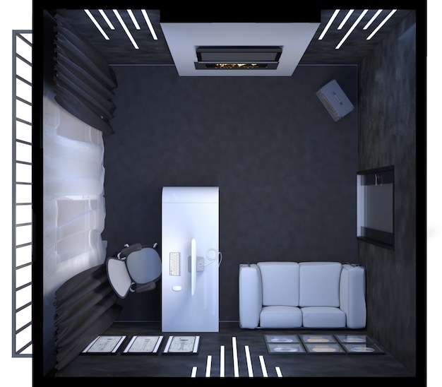 3d illustration of interior design of a home office