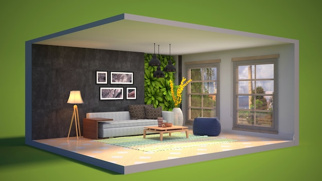 3d illustration interior of the living room in a box