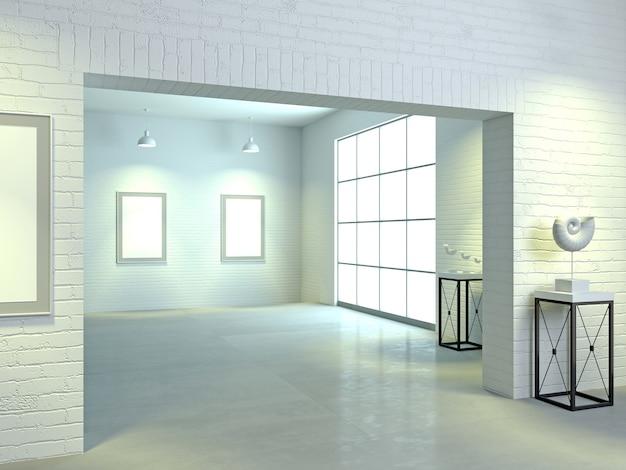 3d иллюстрации. интерьер галереи светлого искусства в стиле лофт. спортзал или выставка. музей