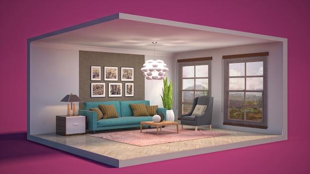 3d иллюстрации интерьер гостиной в коробке