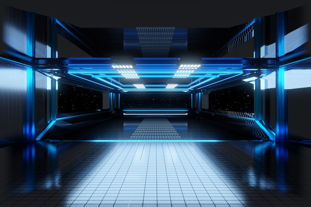 3d illustration of a interior of a space ship or space station.