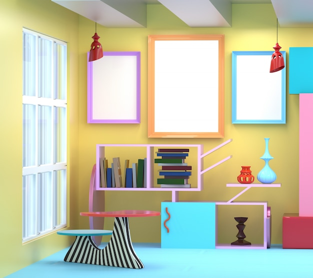 3d illustration of the interior in the style of memphis.