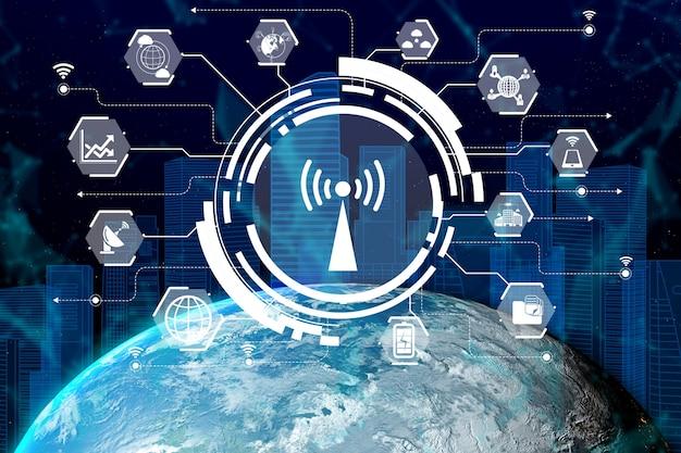 3d иллюстрации международное общение и развитая сеть интернет
