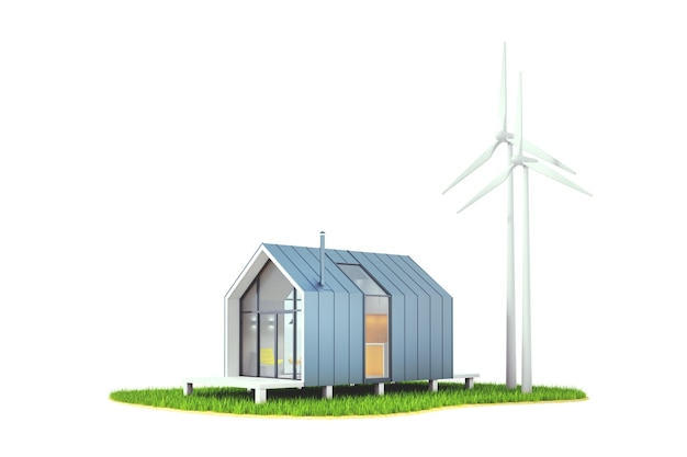3d illustration isolated wind energy in the backyard of a wooden white house
