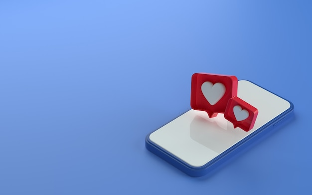 3d illustration of isometric view phone with like notification icon on top and side