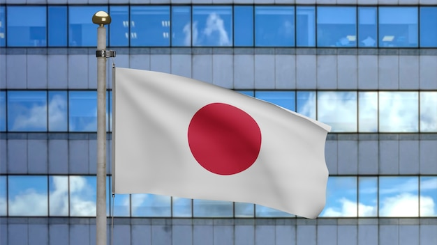 3d illustration japanese flag waving in a modern skyscraper city. beautiful tall tower with japan banner blowing soft silk. cloth fabric texture ensign background. national day country concept