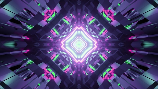 3d illustration of kaleidoscope geometrical with colorful neon lights reflecting in shiny surface