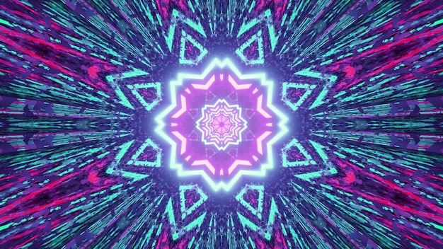 3d illustration of kaleidoscope pattern with bright colors shining with symmetric rays as abstract