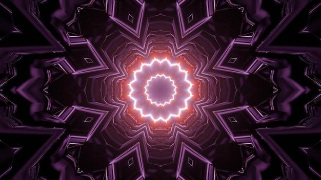 3d illustration of kaleidoscopic neon corridor