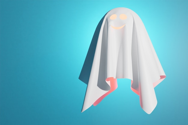 3d illustration of a kind ghost in a white sheet flies, glows from the inside on a blue background. ghost for halluin