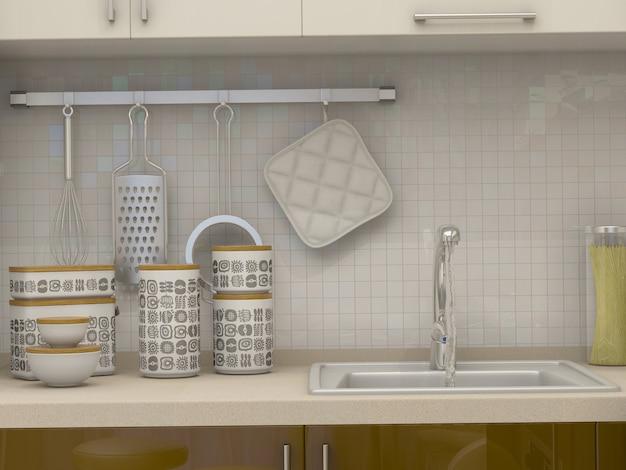 3d illustration of a kitchen in beige tones