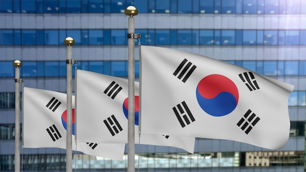 3d illustration korean flag waving in a modern skyscraper city. beautiful tall tower with south korea banner blowing soft silk. cloth fabric texture ensign background. national day country concept