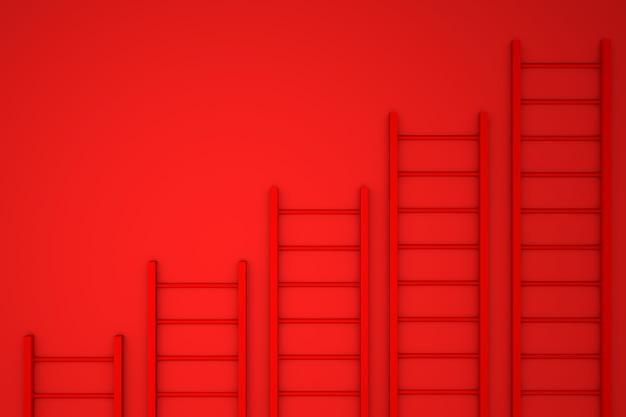 3d 그림. 노란색 벽 배경에 사다리입니다. 비즈니스 개념.