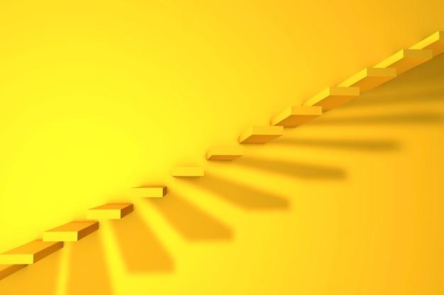 3dイラスト。黄色の壁の背景にはしご。ビジネスコンセプト。