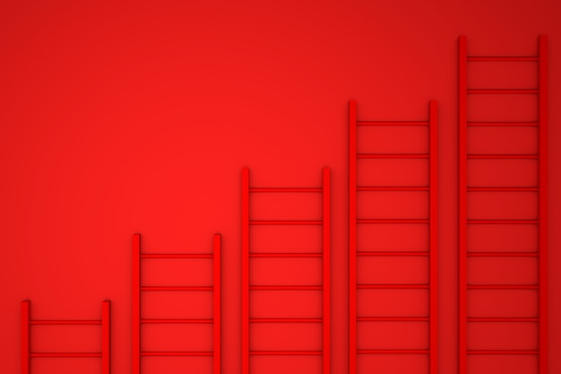 3d illustration. ladder on yellow wall background. business concept.