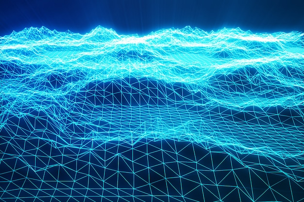 3d illustration landscape background. cyberspace landscape grid. 3d technology. abstract blue landscape on black background with light rays.