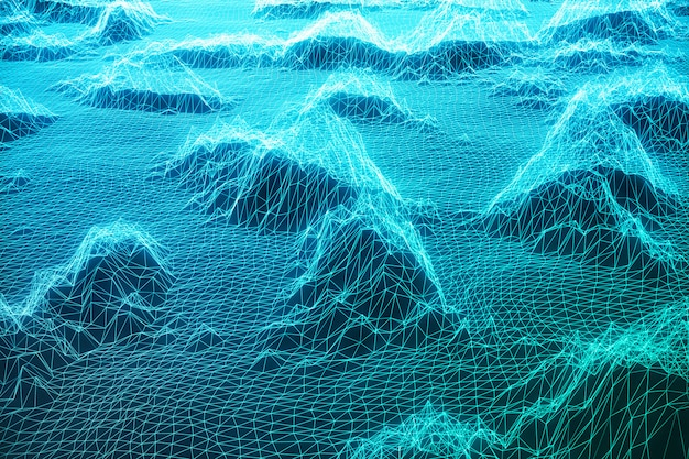 3d иллюстрации пейзажный фон. киберпространство пейзажная сетка. 3d технология. абстрактный синий пейзаж на черном фоне с лучами света.