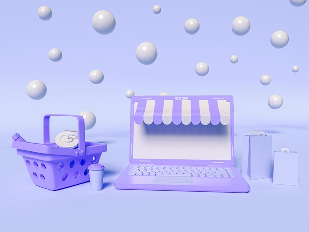 3d illustration. a laptop with a shopping basket and paper bags. online shopping and e-commerce concept.