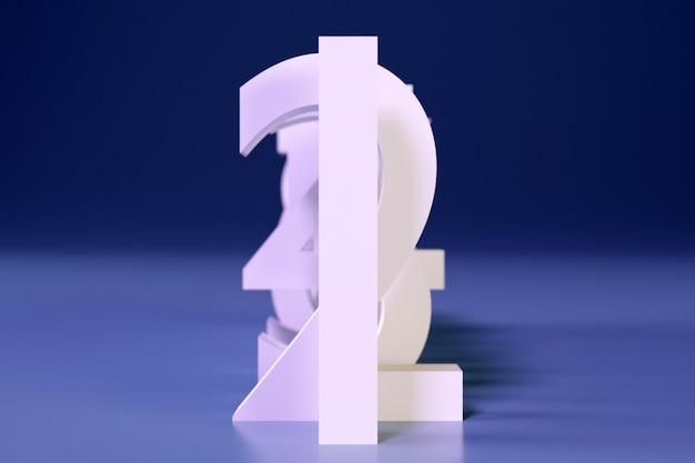 3d 그림 큰 흰색 체적 문자는 파란색 배경에 그림자가 있는 연속으로 서 있습니다. 수학 숫자의 집합
