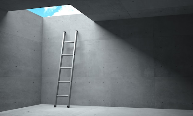 3d иллюстрации. свет в конце коридора и лестничный люк в небо.