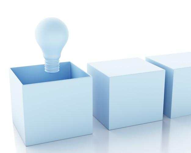 3 dイラスト。電球。アイデアとボックスの概念の外側を考えます。