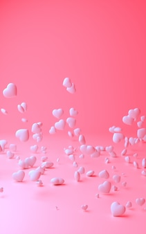 3d illustration of light pink background with composition of deferent sizes white hearts