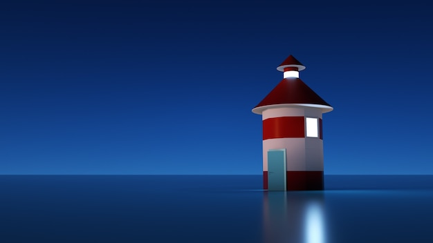 3d иллюстрации, макет маяка темный