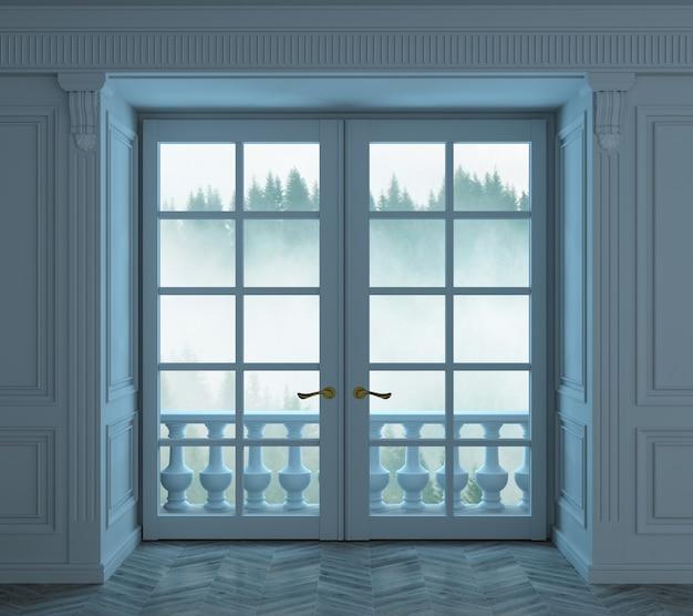 3d иллюстрации. гостиная с классической синей деревянной обшивкой и окном зимой