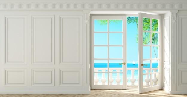 3d иллюстрации. гостиная с классическими белыми деревянными панелями и окном на море