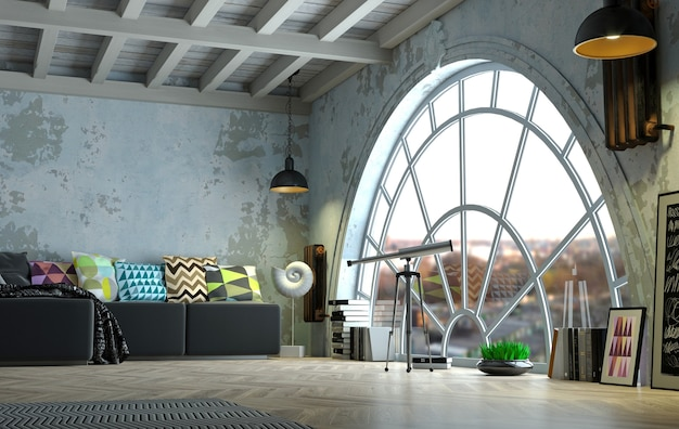 3dイラスト。大きなアーチ型の窓があるロフトスタイルの屋根裏部屋のインテリア。街のパノラマ。スタジオ