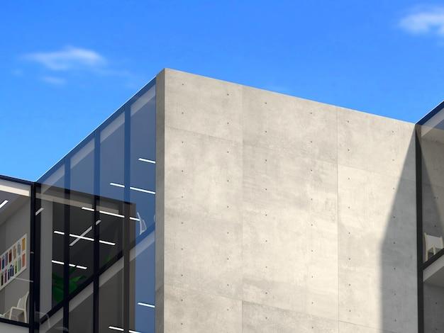 3dイラスト。ロゴモックアップ3dサインビルのオフィスやショップ。コンクリートの壁