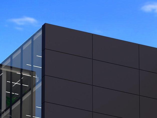 3d иллюстрации. макет логотипа 3d вывеска здание офиса или магазина.