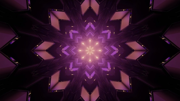 3d illustration of looped kaleidoscope purple snowflake shaped pattern in darkness as abstract background