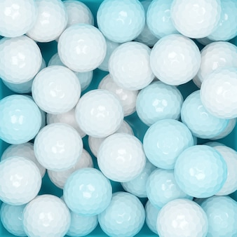 3d illustration  a lot of blue and white balls, top view. many polyhedral balls