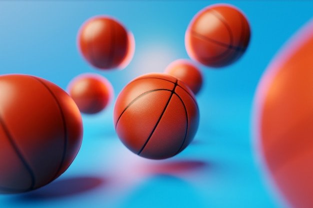 3d illustration a lot of orange basketball balls are flying on a blue isolated background