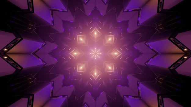 3d illustration of luminous geometric shapes forming symmetric looping kaleidoscope ornament glowing in darkness as abstract background