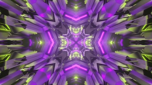 3d illustration of luminous multicolored science fiction corridor with symmetric geometric interior