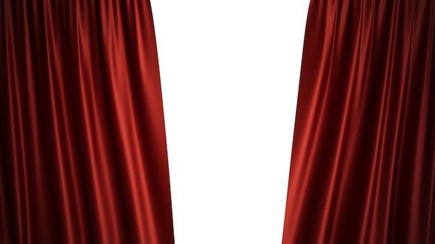 3 dイラストの豪華な赤いシルクベルベットのカーテンの装飾デザイン、アイデア。劇場やオペラのシーンを背景にしたレッドステージカーテン。設計プロジェクトのモックアップ