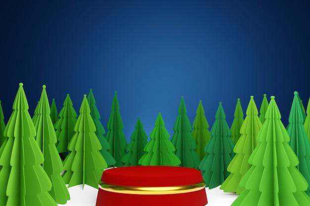 3d 그림 파란색 배경에 둥근 빨간 받침대와 겨울 숲에서 마법의 녹색 구과 맺는 나무. 종이 접기 스타일의 크리스마스 트리