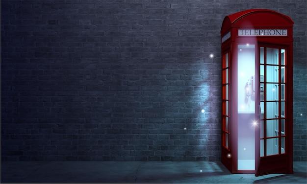3d 그림입니다. 매직 레드 영어 전화 부스 포털. 다른 세계 또는 포털로 가는 문.