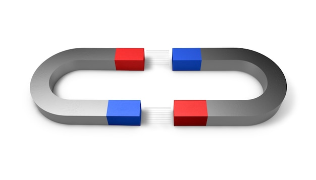 3d illustration of a magnet with north and south poles over white